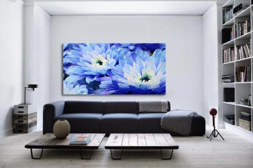 Tableau fleur aster bleu