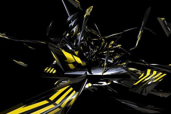Tableau moderne abstrait Vidima jaune