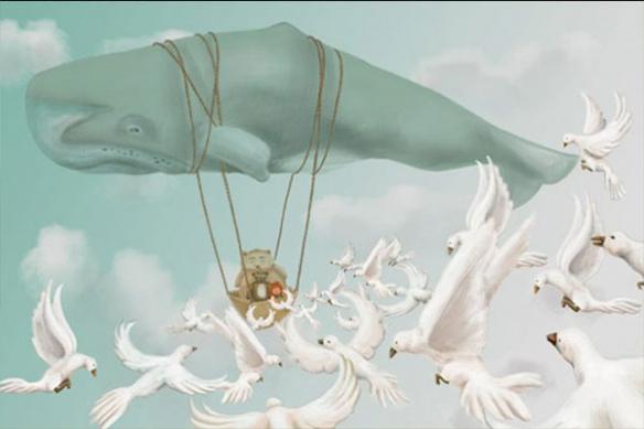 Baleine Montgolfière toile enfant mural