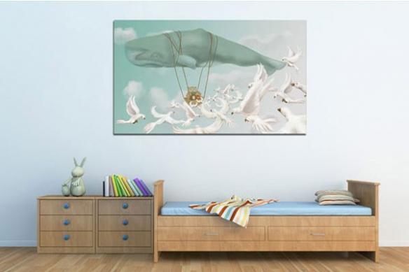 Tableau pour enfant Baleine Montgolfière par Pauline Arnoux
