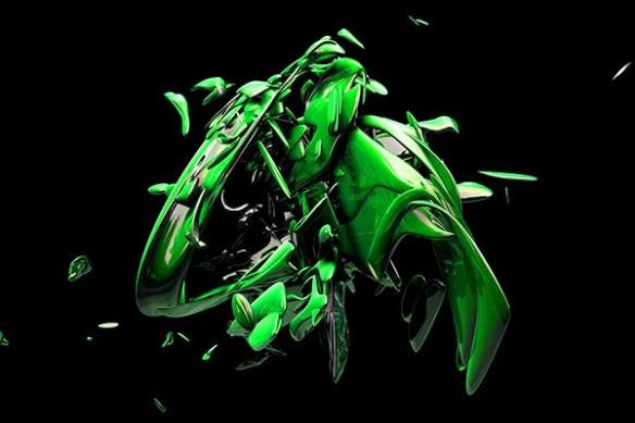 Toile déco design matérialisation vert