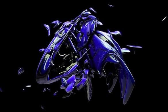 Tableau contemporain matérialisation bleu