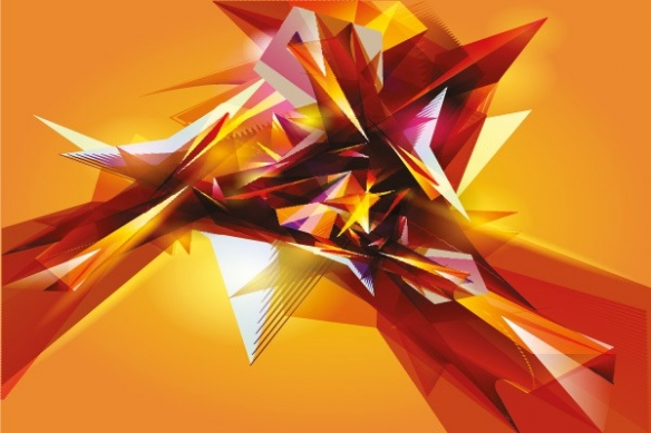 Tableau abstrait jaune et orange