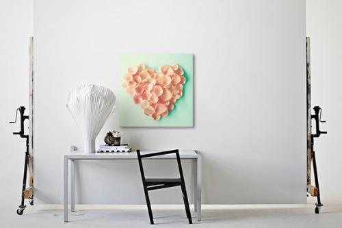 Tableau fleur coeur scintillant