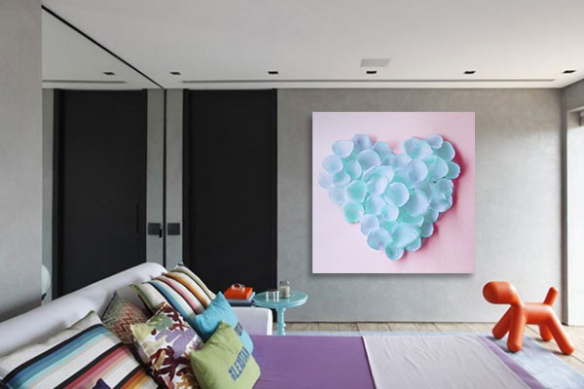 Toile murale coeur scintillant