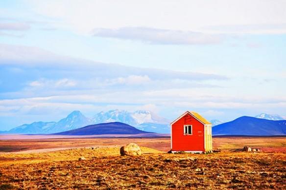 Toile déco ma cabane rouge