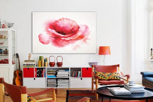 Toile décoration fleur rouge