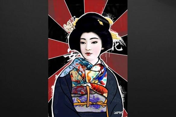 Tableau Geisha japon