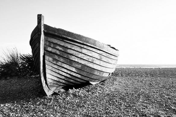 Tableau noir et blanc barque