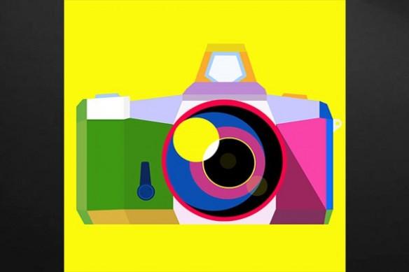 Toile déco appareil photo jaune