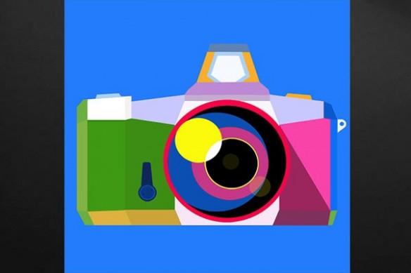 Toile imprimée appareil photo bleu