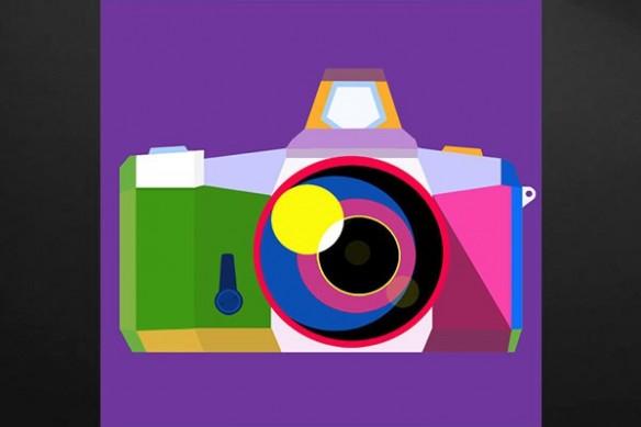 Toile décoration appareil photo violet