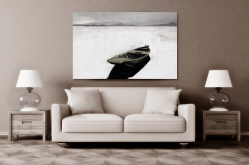 Tableau XXL barque abandonnée