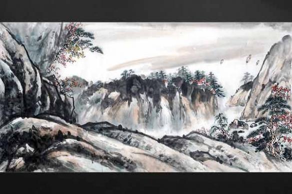 Tableau estampe Perché dans la Montagne