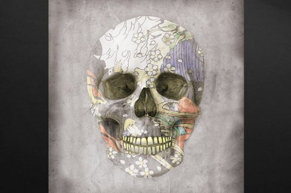 Décoration murale crâne fleuri tendance gris