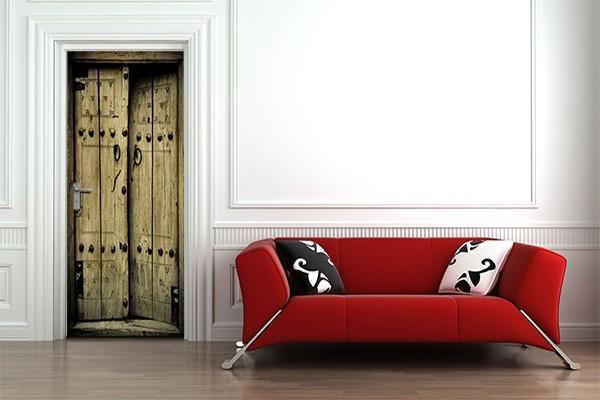 Stickers porte d coration vieux bois izoa for Decoration porte bois