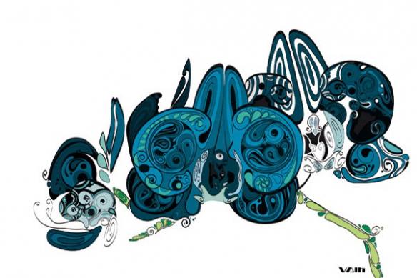 Toile murale fleur design bleu ciel