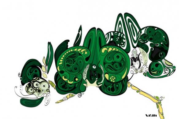 déco salon toile fleur moderne vert