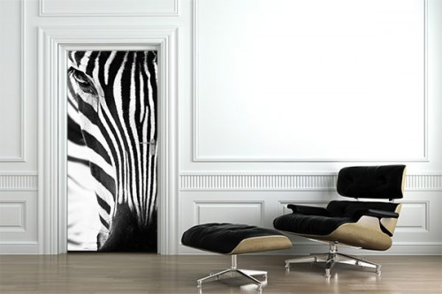Sticker porte Zebre noir et blanc
