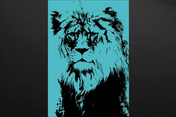 Déco mur lion bleu ciel