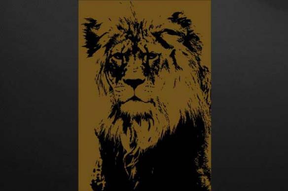 décoration salon lion marron