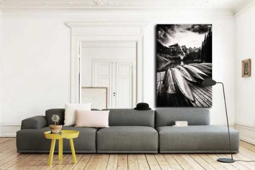 Tableau paysage noir et blanc montagnes
