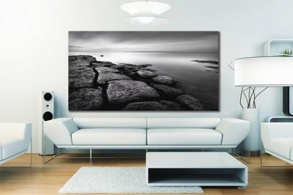 Toile déco noir et blanc paysage rochers et mer