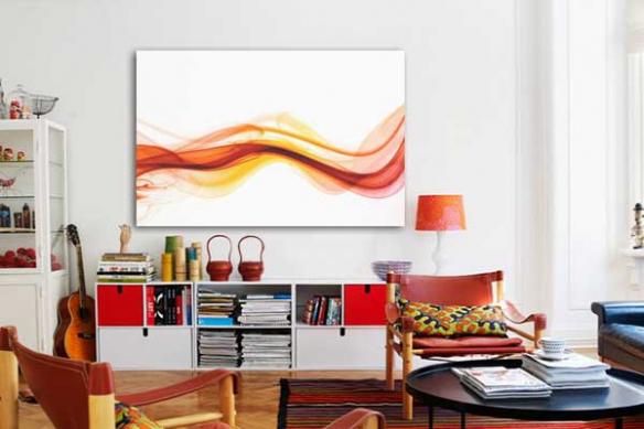 Tableau abstrait design Fumée rouge XXL