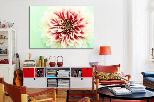 Tableau déco Fleur Dahlia rouge