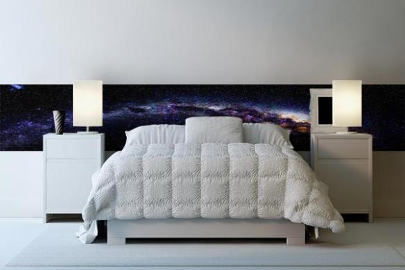 Papier peint tête de lit galaxie étoiles