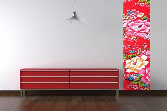 Papier peint décoration fleur rouge Polanska