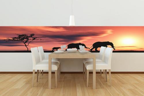 Papier peint Lé unique Famille éléphant