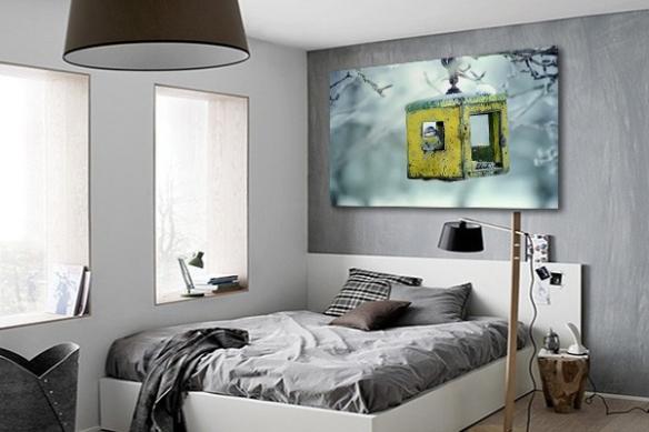 Toile Photo Moineau décor Hivernal