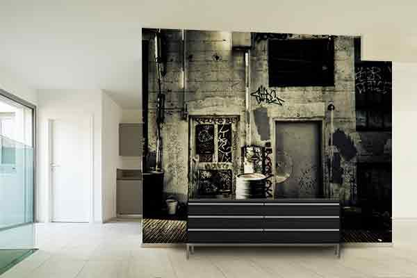 papier peint trompe l 39 oeil ambiance street izoa. Black Bedroom Furniture Sets. Home Design Ideas