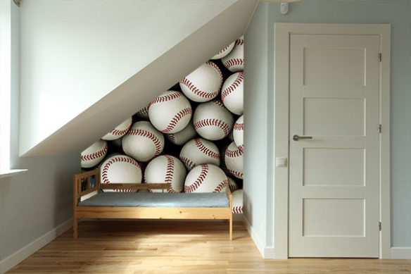 decoration mur photo balle baseball