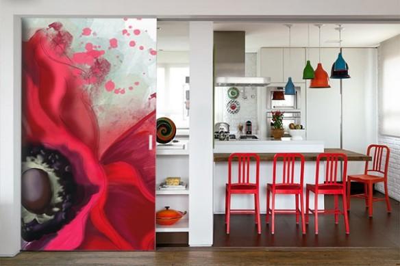 decoration sejour poster mural fleur rouge