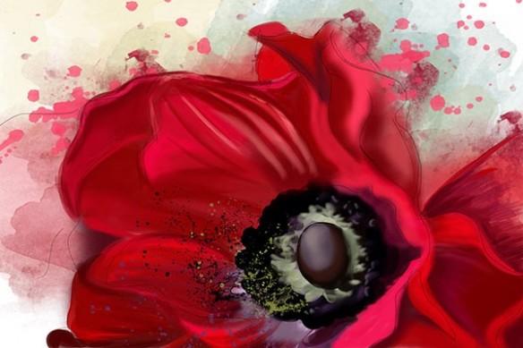 poster design mur fleur rouge