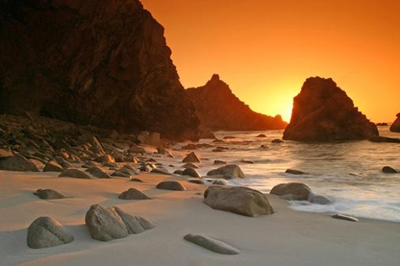 poster geant paysage couché soleil mer