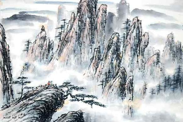 deco mur tableau zen paysage montagnes
