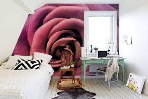 decoration chambre romantique poster fleur rose