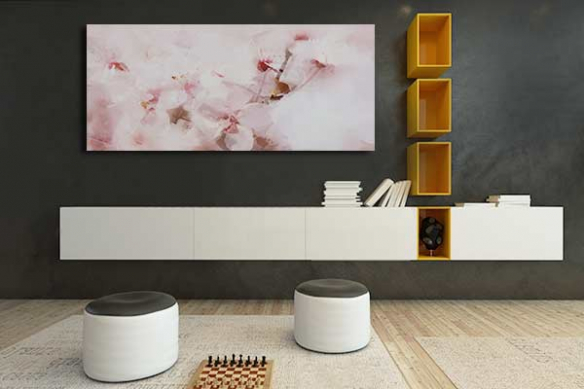 deco salon romantique toile moderne fleurs roses