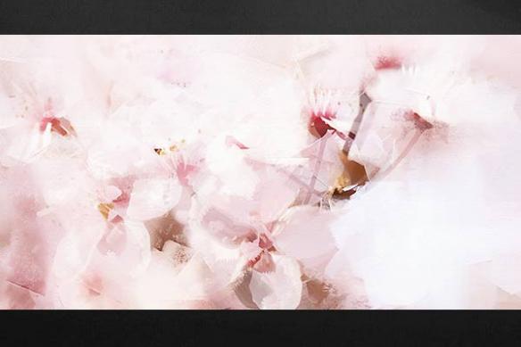 Tableau moderne deco zen fleurs roses