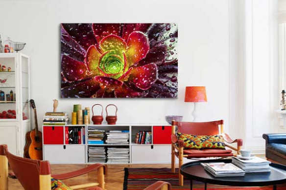 décoration salon toile fleur rouge