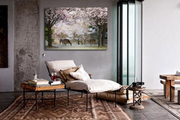 deco mur salon toile biches et cerisiers