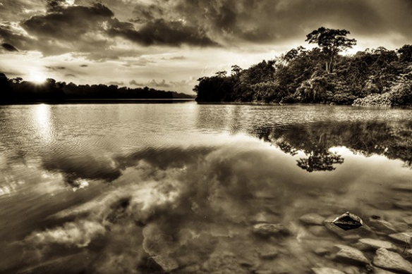 deco mur paysage reflet eau