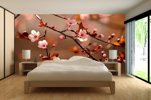 papier peint chambre fleurs de cerisiers izoa. Black Bedroom Furniture Sets. Home Design Ideas