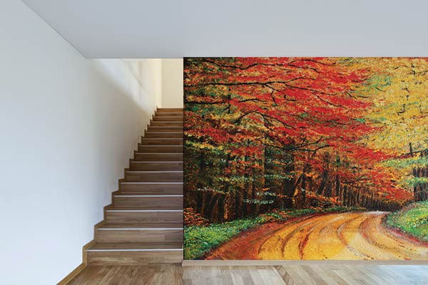 Poster Mural Trompe L Oeil Paysage Chemin Forestier