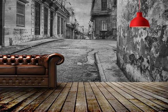 Décoration murale Rue cubaine noir et blanc