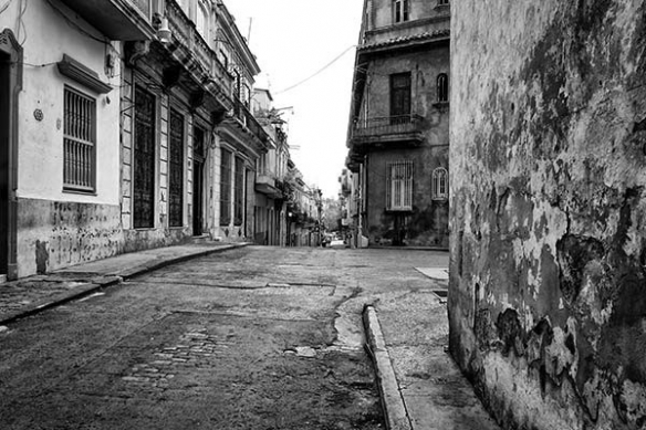 papier peint poster Rue cubaine noir et blanc