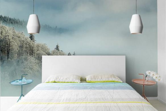 Papier peint chambre forêt enneigée